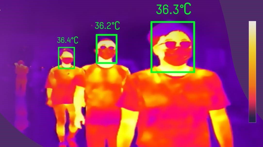 Thermal image of people who have walked past the temperature screening terminal with their temperatures displayed above their heads.